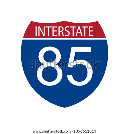 Vector illustration interstate highway 85 road sign icon isolated on white background