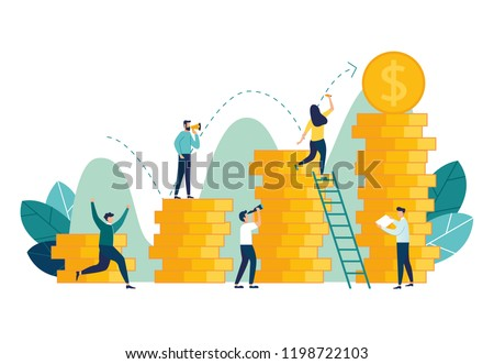 vector illustration, investment management, the company is engaged in the joint construction and the cultivation of cash profits, career growth to success, flat color icons, business analysis