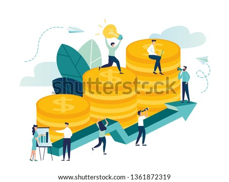 vector illustration, investment management, the company is engaged in the joint construction and the cultivation of cash profits, career growth to success, flat color icons, business analysis - Vector