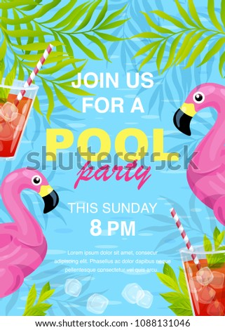 Vector illustration, invitation card design, join us for a Pool party text.