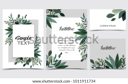 Vector illustration invitation card template with branches and leaf decoration. Set of greeting cards #1011911734