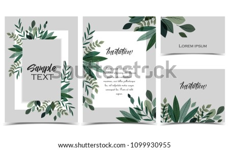 Vector illustration invitation card template with branches and leaf decoration. Set of greeting cards #1099930955