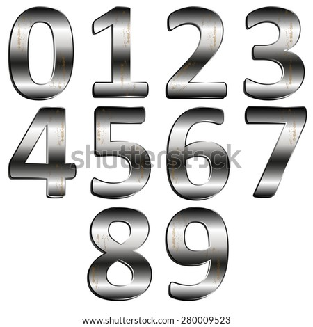 vector illustration iron digit 0 - 9 #280009523