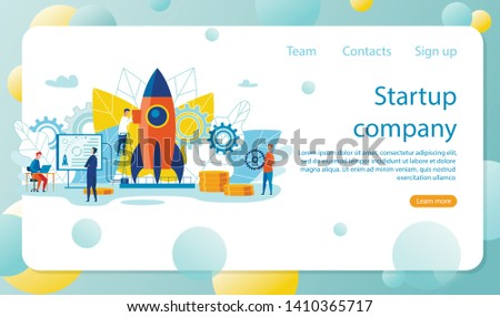 Vector Illustration is Written Startup Company. Head Controls Process Preparing to Launch Rocket. Successful Interaction Between Authorities and Subordinates Leads to Positive Results.