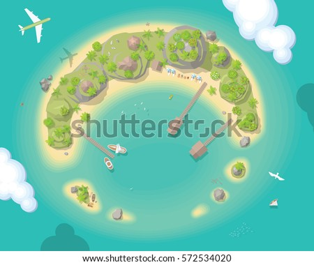 vector illustration island top view summer vacation time to travel sun