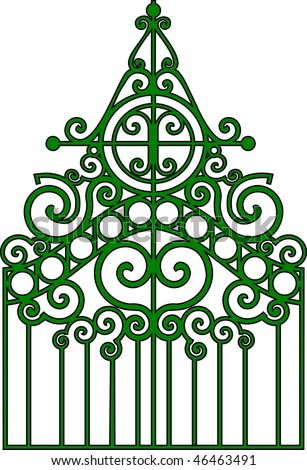Vector illustration:isolated gothic ornamental wrought gates.