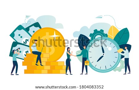 vector illustration isolated on white background. business successful team. time is money, financing and investment, woman and man business handshake