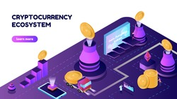 Vector illustration isometric banner with NTF coins and volcano. Cryptocurrency ecosystem concept, for the site