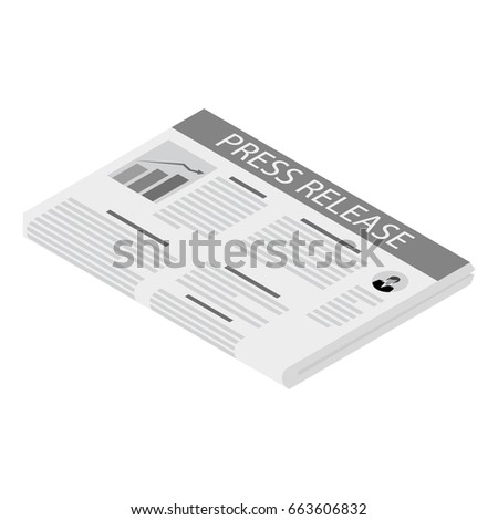 Vector illustration isometric newspaper icon with header press release.