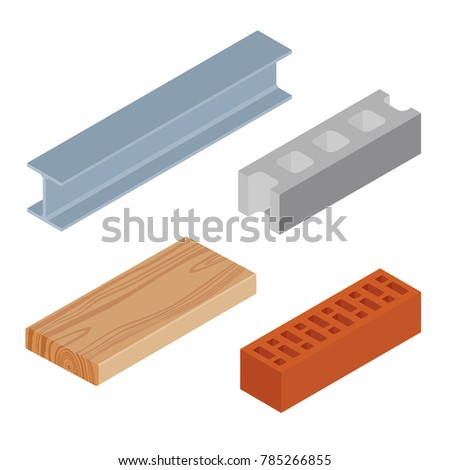 Vector illustration isometric realistic rasped wooden timber plank for building construction or floring. Construction steel beam for architectural works. Cement block and brown bricks