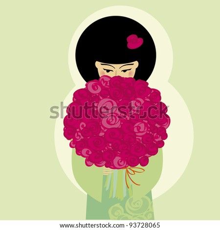 vector illustration japan girl with flowers