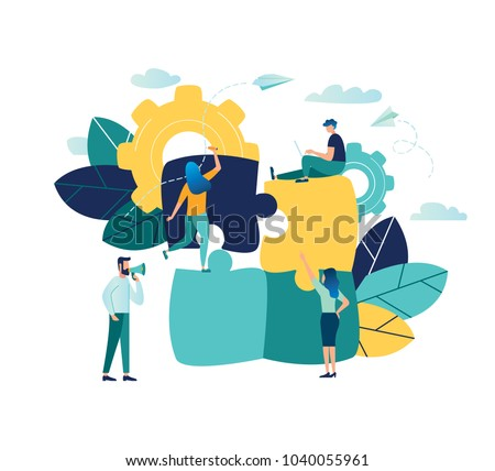 Vector illustration, joint teamwork in the company, people push details of puzzles, business leader contraces the construction process