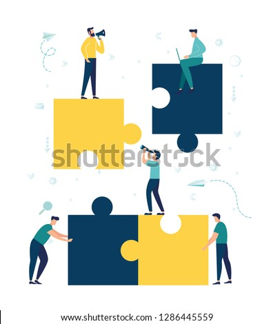 Vector illustration, joint teamwork in the company, people push details of puzzles, business leader contraces the construction process - Vector