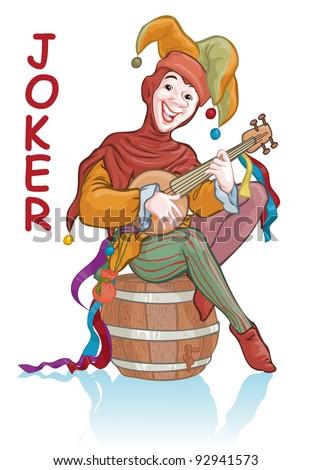 Vector illustration, joker playing on mandolin, card concept, white background.