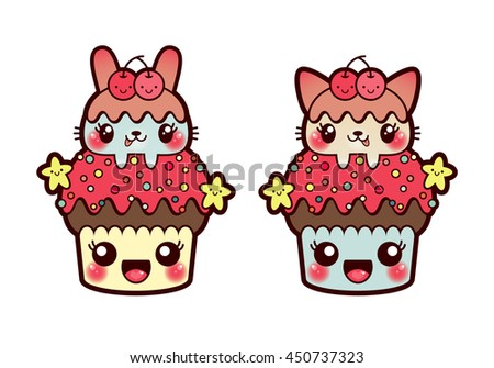 Vector illustration kawaii cupcakes