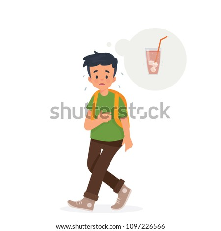 vector illustration kid, boy walk feel thirsty , he is thinking of drink cold water