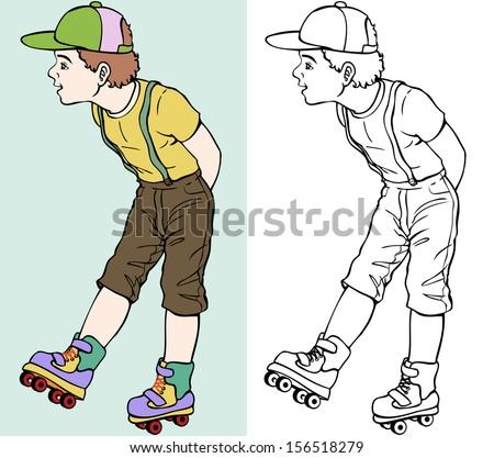 Roller Skates Color Drawing on Roller Skates Coloring