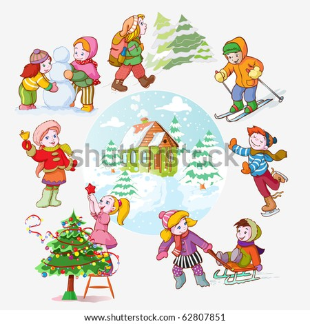 vector illustration, kid's favorite winter activities, cartoon concept.