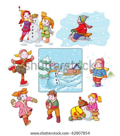 vector illustration, kid's favorite winter games, cartoon concept.
