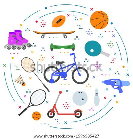 Vector illustration Kid sport, gaming items  Sporting goods for children. Athletic, healthy lifestyle. Happy childhood. Activity. Family vacation. Sports background. Design for textile, website, print