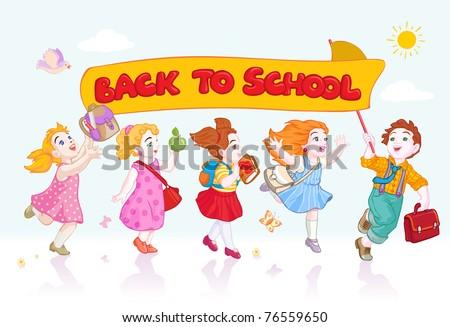 Vector illustration, kids going back to school, banner concept.