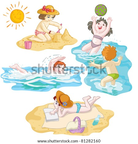 Vector illustration, kids in vacation at seaside, card concept.