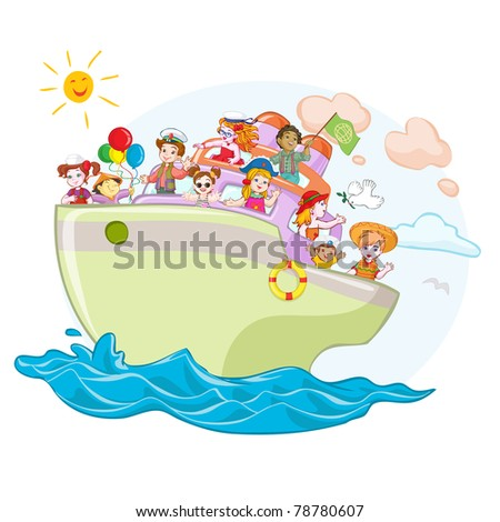 Vector illustration, kids on peace ship, card concept.
