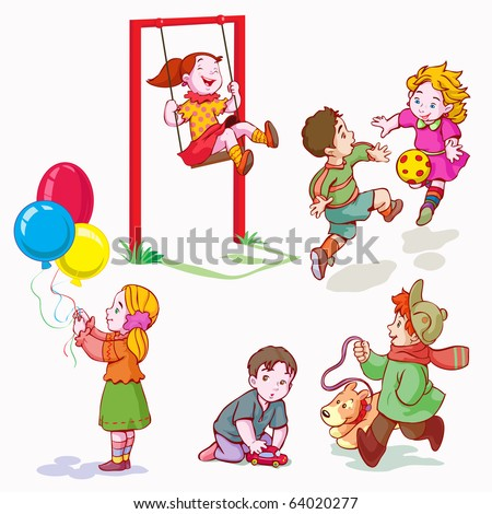 vector illustration, kids playing, cartoon concept, white background.