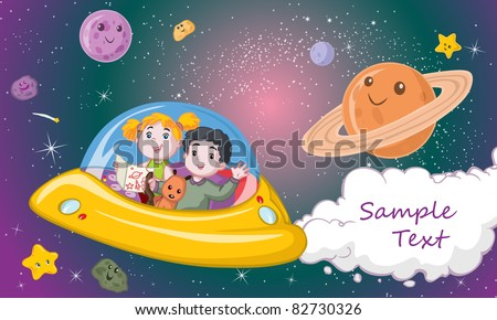 Vector illustration, kids traveling in a spacecraft, card concept.