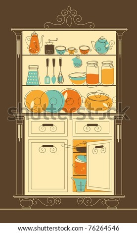Vector illustration - Kitchen cupboard in old-fashion style - stock vector
