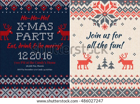 Santa christmas invite vector free vector art at vecteezy vector illustration knitted invitation christmas x mas party front and back sides handmade stopboris Images