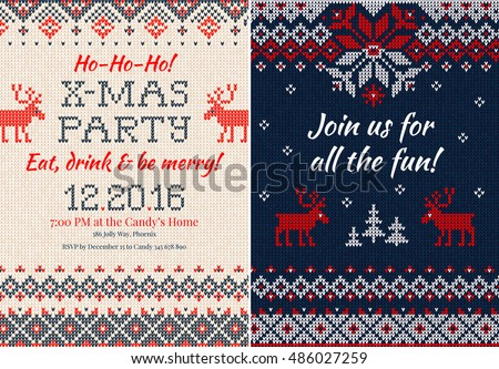 Vector illustration Knitted Invitation Christmas X-mas party. Front and back sides. Handmade knitting abstract background pattern with text, scandinavian ornaments. White, red, blue colors. Flat style