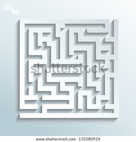 Vector illustration - labyrinth made of paper