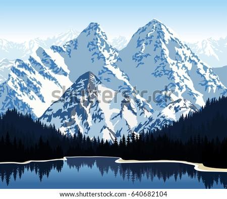 vector illustration   lake in...