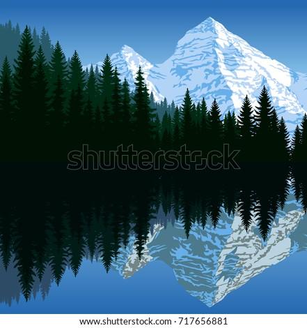 vector illustration   lake in