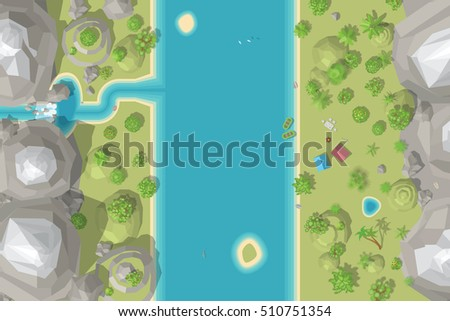 Vector illustration. Landscape and tourist camp. (Top view) Mountains, hills, waterfall, river, trees, tents, boats. (View from above)