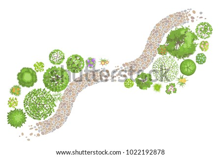 Vector illustration. Landscape design. Top view. Path, trees and flowers. View from above.