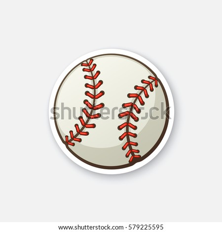 stock-vector-vector-illustration-leather-baseball-ball-cartoon-sticker-in-comics-style-with-contour