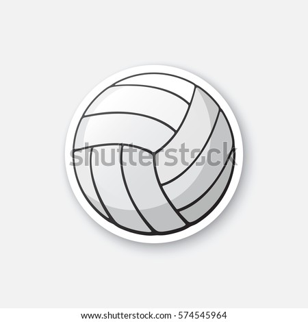 Vector illustration. leather volleyball ball. Sports equipment. Cartoon sticker in comics style with contour. Decoration for greeting cards, posters, patches, prints for clothes, emblems