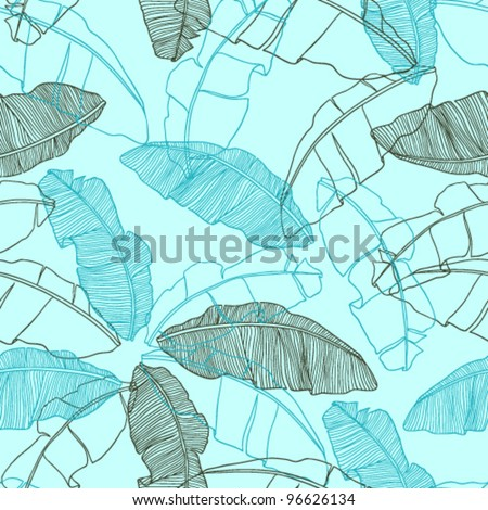 Vector illustration leaves of palm tree. Seamless pattern of lea