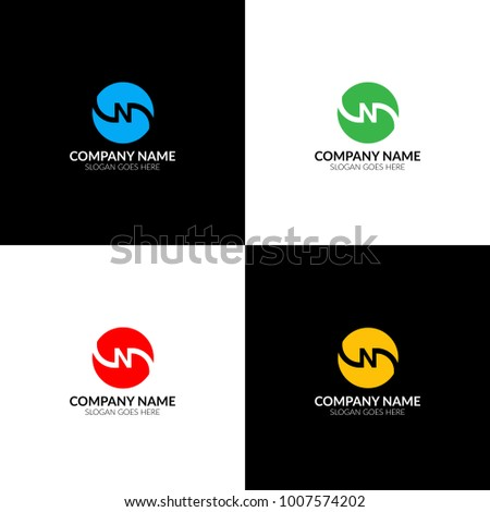 Vector illustration. Letter n in circle logo, icon flat and vector design template. The letter n in inversion logotype for brand or company with text. Foto stock ©