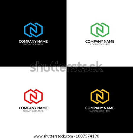 Vector illustration. Letter N in rhombus logo, icon flat and vector design template. The letter n inversion logotype for brand or company with text. Foto stock ©
