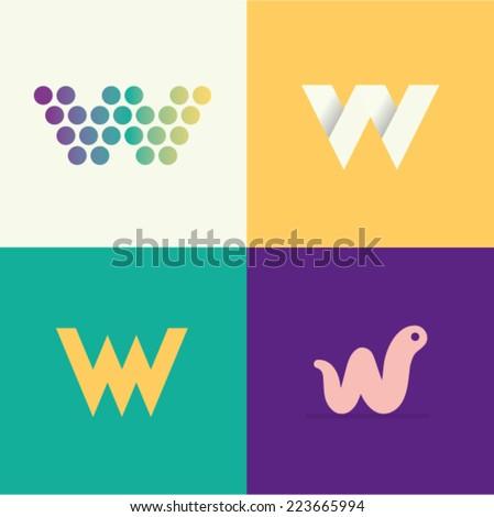 vector illustration letter w set