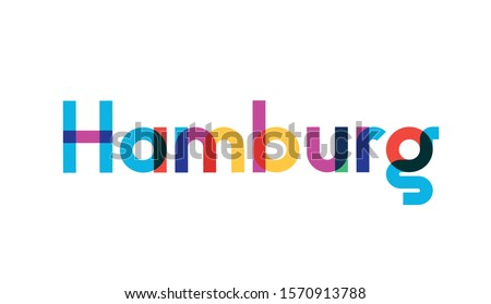 Vector illustration, lettering composition, Hamburg german  city, calligraphy, handwritten lettering logo. Design for postcards, t-shirts, banners, greeting cards, mugs, stickers. EPS 10