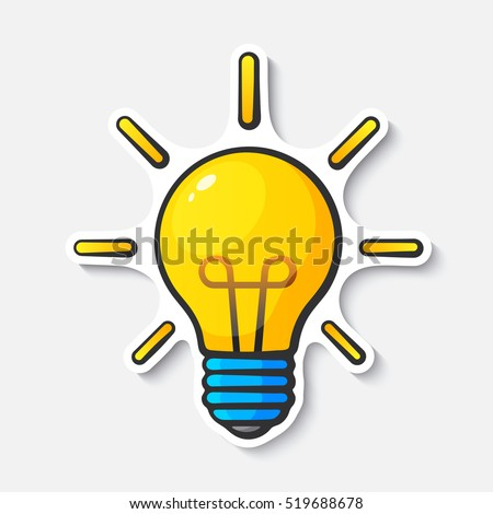 Vector illustration. Light bulb with rays of light. Cartoon funny sticker in comic style with contour. Design element for your stickers, card, posters, emblems, web design, and fabric
