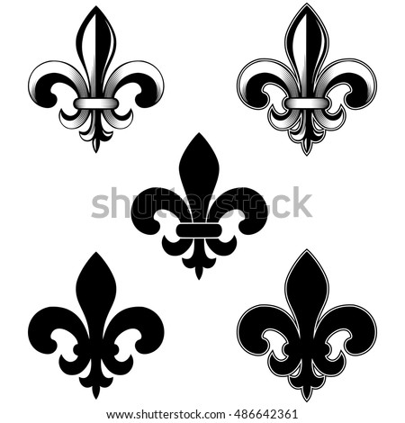 royalty free fleur de lis set 181079408 stock photo. Black Bedroom Furniture Sets. Home Design Ideas
