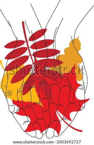 Vector illustration. LInear sketch of two hands and colorful red and yellow autumn leaves of maple, rowan, oak , birch. Elements for design card, poster, t-shirt print, invitation. Photo stock ©