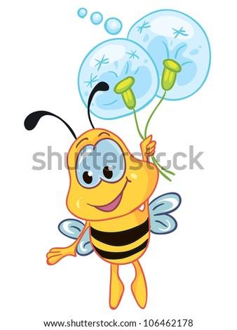 vector illustration - little bee  on white background