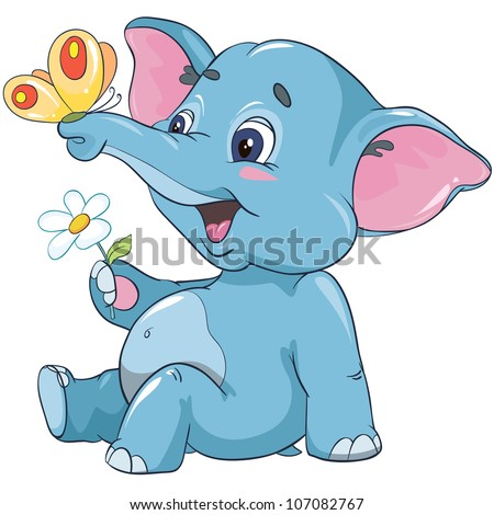 vector illustration - little cartoon elephant calf with a flower and butterfly isolated on white background
