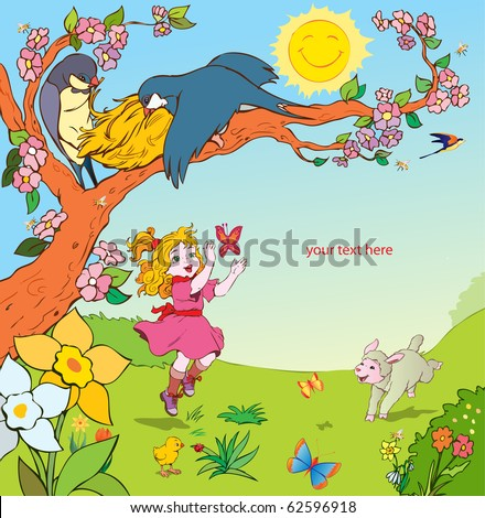 vector illustration, little girl playing in the garden, card concept
